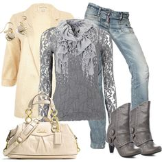 """Cream and Gray"" by debbie-probst on Polyvore"