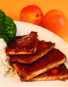 Baked BBQ Tofu with Apricot BBQ Sauce from the cookbook Veganomicon