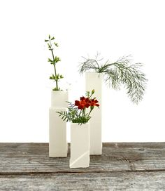 Cityscape Bud Vases- Set of 3 Individual Vases