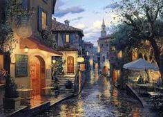 Картинки по запросу ночной город дождь картина