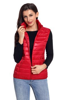 Red Quilted Cotton Down Vest [LC85127-3] - $14.70 : dailyshee.com
