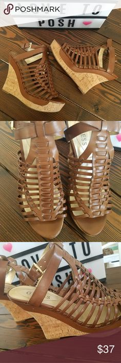 Goes with anything GUESS Wedges Brown in color with cork base. Gold buckle straps around ankles. 5in height. Perfect for summer. Goes with anything. Worn once! Shoes Wedges