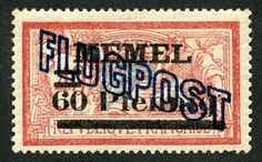 """1921 Scott C6  60Pf on 40c red & pale blue Two stamps were also issued with the large """"P"""" or """"M"""" in """"Pfennig"""" and """"Mark"""" respectively. In general, the collector has to pay close attention to the (sometimes subtle) changes in surcharge overprints for Memel stamps."""