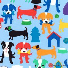 Animal Treats Dogs on blue by Hoffman Fabrics J3202-16-Sky