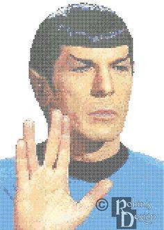Spock Vulcan Salute Cross Stitch Pattern PDF by robinsdesign Star Trek Cross Stitch, Cross Stitch Boards, Cross Stitch Alphabet, Counted Cross Stitch Patterns, Cross Stitch Designs, Embroidery Art, Cross Stitch Embroidery, Embroidery Patterns, Star Trek Tos
