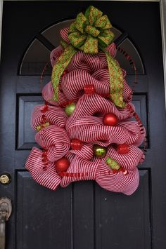 Lighted Christmas Tree Wreath from Deco Mesh christmas wreaths, holiday wreaths, diy christma, tree wreath, christma tree, front doors, deco mesh wreaths, christmas trees, christmas door