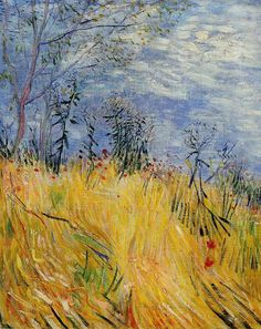 """Edge of a Wheat Field w/ Poppies"" by Vincent Van Gogh. Personally, I don't like this painting from Van Gogh as he doesn't use much detail, and I think the blue and the yellow clash. Art Van, Van Gogh Art, Vincent Van Gogh, Rembrandt, Pierre Auguste Renoir, Claude Monet, Van Gogh Museum, Art Museum, Impressionist Paintings"