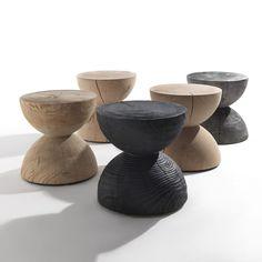 Clessidra stools designed by Mario Botta for Italian Riva1920. Made of solid cedar with Vulcano finish. From Sibast.