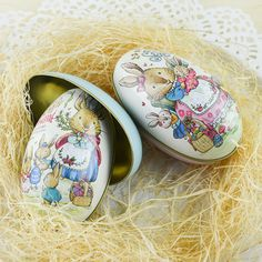NEW Metal Tin Easter Festival Egg Gadget Gift Storage Candy Box Case Decor Gifts #Unbranded