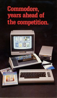Commodore 64 poster ad 🙄 My first computer. The calculator and little family budget program I had for it was wonderful. Games consisted of questions with mysterious computer generated answers. Alter Computer, Home Computer, Gaming Computer, Computer Science, Vintage Advertisements, Vintage Ads, Vintage Posters, Radios, Old Technology