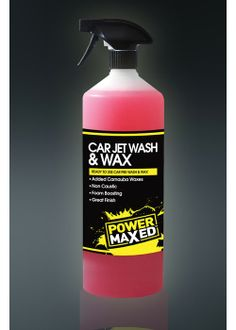 Power Maxed Jet Wash and Wax Power Maxed Car Wash and Wax makes car cleaning a quick and easy process. Foam boosters gently and efficiently lift dirt and grease from your car surface leaving you to just rinse and wipe. Designed alongside some of the world's leading race teams to ensure top performance.  Non Caustic Lifts and Disperses Dirt, Oil and Grease Great Bug Remover and Tree Sap Remover Added Waxes Foam Boosting Fantastic Smell