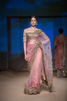 Sari by Ashima-Leena at India Bridal Fashion Week 2014 Indian Fashion Trends, India Fashion, Ethnic Fashion, Asian Fashion, Saris, Indian Dresses, Indian Outfits, Modern Saree, Saree Trends