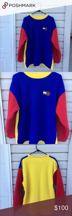 03caaa603d6 Vintage Tommy Hilfiger Fleece Sweatshirt Vintage nineties color block  fleece sweatshirt. Bright primary colors with