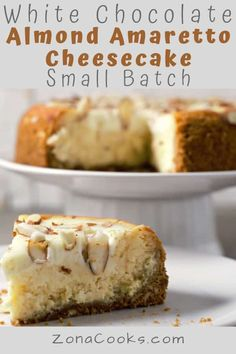 This elegant small batch White Chocolate Almond Amaretto Cheesecake is gorgeous AND delicious with homemade graham almond crust and sweet creamy topping. Creamy Cheesecake Recipe, Amaretto Cheesecake, Cheesecake Desserts, Small Desserts, Köstliche Desserts, Delicious Desserts, Dessert Recipes, Breakfast Recipes, Custard Recipes