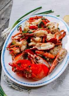 Cantonese Style Ginger Scallion Lobster by thewoksoflife #Lobster #Ginger #Scallion