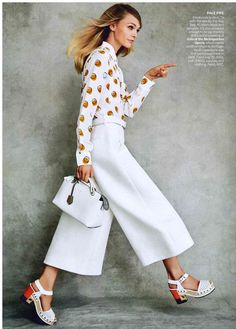 One of the Fendi Spring/Summer 2015 Resort look matched with the new Fendi By The Way bag styled by Tabitha Simmons and photographed by Patrick Demarchelier in Vogue US's October 2014 Issue