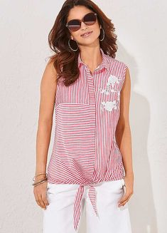 This pretty pinstripe sleeveless shirt pairs back with white summer shorts perfectly. Featuring white embroidered flowers to front chest and front tie. Holiday Fashion, Holiday Style, Sleeveless Shirt, Summer Shorts, Embroidered Flowers, Tie, Collection, Women, Ties