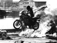 Debbie Evans.. enjoying a Sunday ride... through a wall of flames!  Stuntswoman ruler.