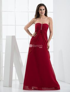 Burgundy Beaded Empire Waist Chiffon Satin Bridesmaid Maxi Dress. This dress is simple but gorgeous, supplying you both style and decoration. The front beading decorates on the bodice adds a feminine touch to this gentle dress. You may be attracted by this dress's attractive color, which .. . See More Bridesmaid Dresses at http://www.ourgreatshop.com/Bridesmaid-Dresses-C926.aspx