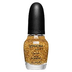 SEPHORA by OPI - It's Real Gold Top Coat. Tried this at a sephora store and think its overrated. Just looks like ordinary gold glitter in clear nail polish. Summer Nail Polish, Gold Nail Polish, Gold Nails, Nail Polish Colors, Fancy Nails, Nail Polishes, Sephora, Fall Nail Trends, Nail Art