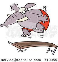 Cartoon Elephant Jumping on a Diving Board by Ron Leishman