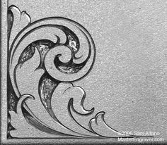 Alfano's Tips & Tricks for Hand Engravers - Relief Engraving Wood Carving Patterns, Carving Designs, Gravure Metal, Molduras Vintage, Engraving Art, Metal Engraving Tools, Leather Tooling Patterns, Scroll Pattern, Silver Work