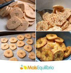 Banana chips para matar a fome fora de hora! Corte quantas bananas da terra preferir, tempera com uma pitada de sal e pimenta, leve ao forno pré-aquecido por cerca de 20 ~25 minutos. http://maisequilibrio.terra.com.br/olha-a-banana-ai-5-1-4-452.html