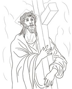 Jesus Carries His Cross Coloring Page From Good Friday Category Select 22454 Printable Crafts Of Cartoons Nature Animals Bible And Many More