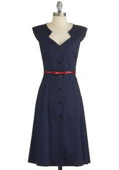 Knack for Numbers Dress - Blue, Solid, Buttons, Belted, Casual, A-line, Cap Sleeves, Good, Woven, Vintage Inspired, 40s, Shirt Dress