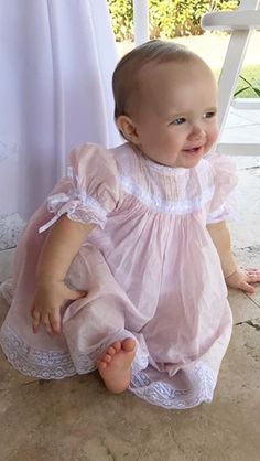 Ideas sewing dress lace etsy for 2019 Smocked Baby Dresses, Little Girl Dresses, Sewing For Kids, Baby Sewing, Smocking Baby, Baby Doll Clothes, Barbie Clothes, Kids Frocks, Baby Gown