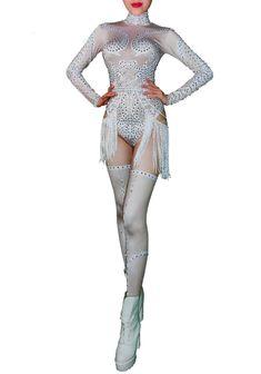 abe8bd41e1d9 White Sparkly Rhinestones White Tassels Bodysuit Sexy Dance Costume