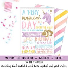 Unicorn Invitation Rainbow Invitation Magical by qtpaperie on Etsy - party invitations - Rainbow Birthday Invitations, Unicorn Birthday Invitations, Birthday Party Games, Unicorn Birthday Parties, 2nd Birthday, Sleepover Party, Pajama Party, Birthday Ideas, Unicorn Printables