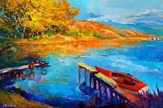 Lake during the Autumn 24x16inLandscape Painting by artnikolov, $299.00