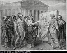 Pericles and Aspasia supervise the works of Phidias. 19th century lithography out of a painting by Gaspare Landi.