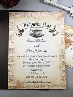 Rustic Wedding Invitation, Coffee Wedding Invitation, The Perfect Blend Wedding Invitations, Antique Wedding Invitation by SugarSpiceInvitation on Etsy https://www.etsy.com/listing/295242453/rustic-wedding-invitation-coffee-wedding