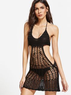 Online shopping for Black Halter Hollow Out Crochet Cover Up Dress from a great selection of women's fashion clothing & more at MakeMeChic.COM.