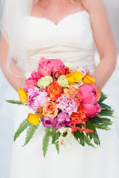 #bright #bouquet | Delray Wedding at Seagate Beach Club from Sheila Camp Motley Events + Dillon Photo  Read more - http://www.stylemepretty.com/florida-weddings/2013/10/10/delray-wedding-at-seagate-beach-club-from-sheila-camp-motley-events-dillon-photo/