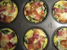 Eggs in a muffin pan   Recipes for Bacon Spinach & Tomato Egg Cups, Ham & Parmesan Cups, and Sausage & Egg cups