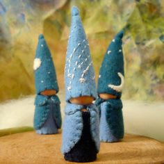 Final December trio Three Celestial Gnomes Waldorf  Natural Dollhouse doll storytelling Nature Table