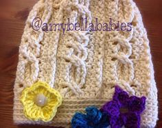 Cable Hat with Interchangeable Flowers