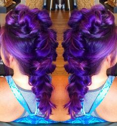 purple dyed Mohawk oversized braided back dyed hair color @sweetmelissagrace