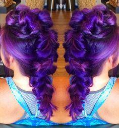 purple dyed Mohawk oversized braided back dyed hair color @sweetmelissagrace