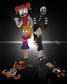 am i the only that thinks charlie and elizabeth where best friends but bc of purple guy they become enemis? okay ima go and cry in a corner. Fnaf 5, Anime Fnaf, Kawaii Anime, Foxy And Mangle, Fnaf Baby, Good Horror Games, Fandom Games, Fnaf Characters, Fnaf Sister Location