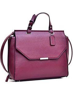 MKY Women Flapover Briefcase Leather Messenger Bag Designer Purse w/ Removable Shoulder Strap Wine Best Handbags, Fashion Handbags, Briefcases, Messenger Bag, Shoulder Strap, Purses, Link, Image, Leather