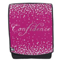 Faux Diamond Silver Confidence on Magenta Pink Backpack