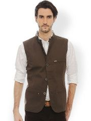 Buy Basics Men Brown Waistcoat - Waistcoat for Men | Myntra