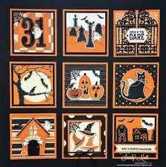 Stampin' Up! Halloween Sampler - created by Sandy Mott Halloween Shadow Box, Halloween Frames, Halloween Cards, Fall Halloween, Halloween Decorations, Halloween Design, Halloween Stuff, Halloween Ideas, Shadow Box Kunst
