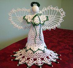 Hand Crocheted Beaded Angel Victoria Christmas by MonasCrochet