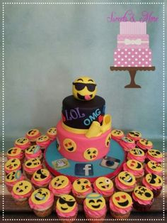 2 tier fondant cake with rkt topper and matching emoji cupcakes! Made this cake for my daughter's 13th birthday☺❤