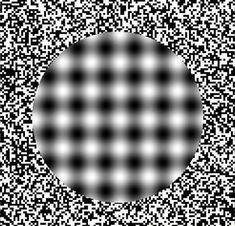 ScienceBob: This uses visual vibrations to create a cool effect. Try moving your head   close to, and then away from the screen. The fuzzy dots appear to move.